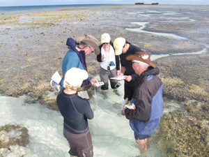 Participants in the Foundations ZooX Ambassador Program conduct a Coral Watch transect on Heron Island, QLD.
