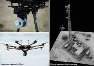 Three images in one: Image one in the top left is of a small grey and blue cylinder attached to the undercarriage of a drone. Image two on right is a black and white image of a model of a landscape with buildings and a communications tower, Image three on bottom left is an image of the hovermap drone in flight with the payload shown attached to the drone's undercarriage.