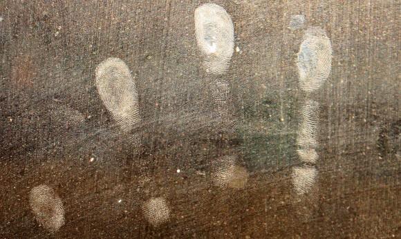 Fingerprints on a surface.