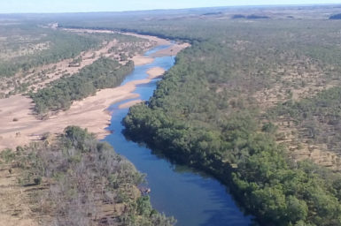 A view of a river in remote outback Australia from above. The view of the river and surrounding bush takes up most of the image, with a the horizon in the top of the picture. The terrain is mostly forested and flat with some small hills in the distance on the top right hand corner. The left of the river has a large expanse of sand flats with trees growing through these sand flats.