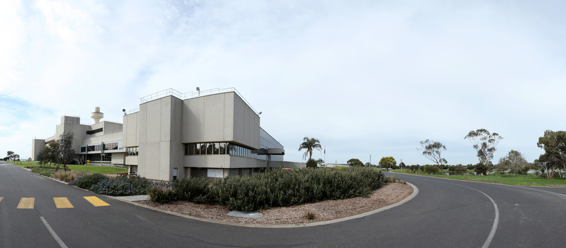 A panoramic image of the exterior of the Australian Animal Health laboratory.